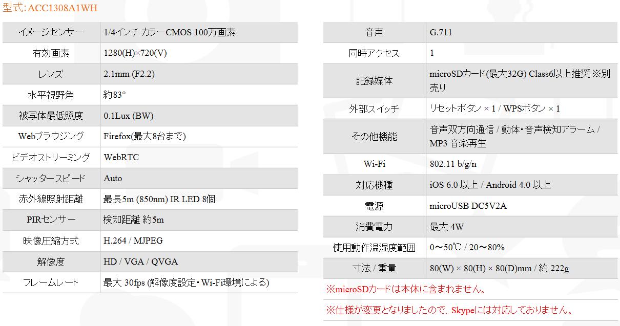 【Wi-FiネットワークIPカメラ】あんしんカム(iCam HD 360)簡単設定!遠隔監視・安心確認ネットワークカメラ スペック